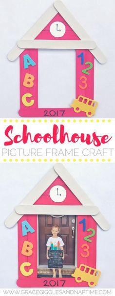 Popsicle Stick Schoolhouse Picture Frame Craft :http://www.gracegigglesandnaptime.com/popsicle-stick-schoolhouse-picture-frame-craft/