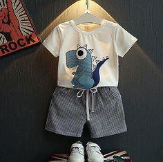Boy white dinosaur T-shirt + striped shorts suit children Boys' Clothing kids