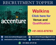 Accenture Services Pvt Ltd Walkins For Freshers At Mumbai