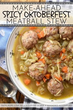 Make-Ahead Spicy Oktoberfest Meatball Stew - This spicy make-ahead meatball stew is the perfect recipe to make on an early autumn weekend to enjoy later in the busy work week. After all, I think that we can all agree, that most soups, stews, and chilis taste better when enjoyed a few days later. This fall stew has a lovely peppery warmth thanks to black pepper and crushed red pepper flakes, and the Oktoberfest lager it contains helps to add a delightful depth of flavor. And in orzo pasta and bak Crescent Roll Apple Dumplings, Meatball Stew, Celery Rib, Sweet Italian Sausage, Chowder Recipes, Perfect Food, Great Recipes, Food To Make, A Food