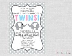 Twin Gender Reveal Party Invitation Gray by ReflectLoveDesigns