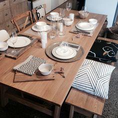 Neutral table setting for winter entertaining.
