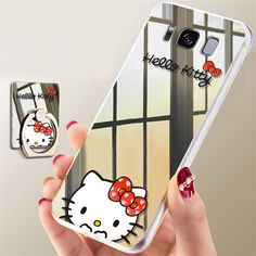 368422dacae Hello Kitty Mirror Ring Stand Case Thin Cover for Samsung Galaxy S8 / S8  Plus +