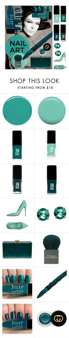 """""""nail art green"""" by onizaur ❤ liked on Polyvore featuring beauty, Burberry, Jin Soon, JINsoon, Gianvito Rossi, Glitzy Rocks, Edie Parker, MAC Cosmetics and Gucci"""