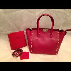 SALEWAS $2400 Valentino Rockstud  shopper tote Brand New Valentino Rockstud shopper tote in deep red(dark red). 100% Authentic. Offers are welcome  ‼️NO TRADES‼️ Valentino Bags Totes