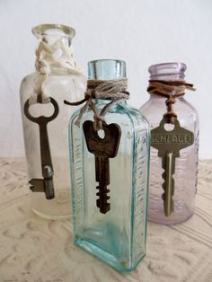 Vintage apothecary bottles with keys
