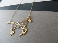 horse necklace geometric jewelry by WildThingStudio on Etsy, $64.00