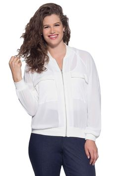 Plus Size Bomber Jacket in White | MYNT 1792