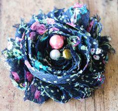 Blue Vintage Floral Shabby Chiffon Newborn Headband by CappyClips, $3.50