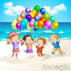 Balloon Beach kids vector