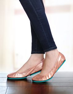 Polished and feminine, Rose Gold Glam Tieks add the perfect touch of elegance to any outfit | Tieks Ballet Flats