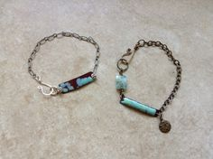 Fun little bracelets I made today, smashed copper tubes with 6/20 Frit .