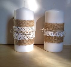 Burlap Candle with Burlap Lace and Twine for Decor by woodandsea