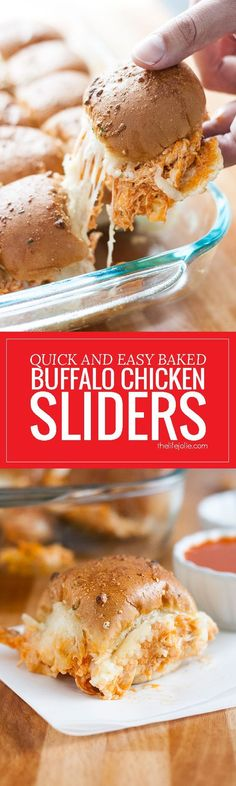 These Quick and Easy Baked Buffalo Chicken Sliders are great for game day! They come together lightning fast in the oven with a few simple ingredients like shredded chicken, ranch dressing, buffalo sauce, mozzarella cheese, and slider buns. The best appetizer to bring to any party! | The Life Jolie