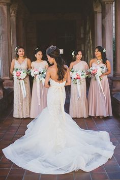 Intimate East-Meets-West Boston Wedding, Bridesmaids in Mismatched BHLDN Dresses | Brides.com | Photo: Katch Studios