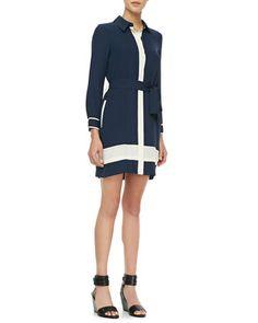Two-Tone Tie-Waist Shirtdress by Diane von Furstenberg at Neiman Marcus.