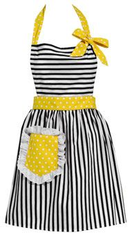 Kitchen Apron, Garter, Gloves. Yellow and black and white stripes polka dots bright cheerful!