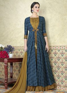 Fancy Blue And Khakhi Color Tussar Silk Print Printed Party Wear Jacket Style Anarkali Suit Add glamour to your ethnicity by adding this blue and khakhi color beautiful salwar kameez which gives you traditional breathe taking looks and catches the attent Robe Anarkali, Costumes Anarkali, Silk Anarkali Suits, Lehenga Choli, Choli Dress, Salwar Suits, Saree, Designer Anarkali, Designer Kurtis