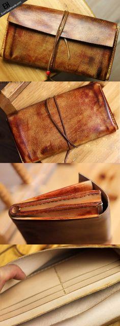 Handmade men vintage rustic simple envelope Stitched leather long wall | EverHandmade