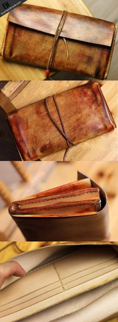Handmade men vintage rustic simple envelope Stitched leather long wall | EverHandmade