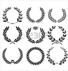Illustration of Golden Shields And Laurel Wreaths Collection vector vector art, clipart and stock vectors. Laurel Tattoo, Laurel Wreath Tattoo, Neue Tattoos, Body Art Tattoos, Tattoo Drawings, Tatoos, Tattoos For Guys, Tattoos For Women, Small Tattoos For Men