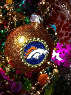 Denver Broncos Glass Painted Glitter Resin by ElectricLadyland1