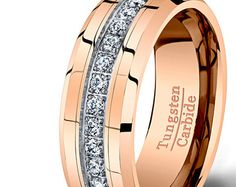 Mens Wedding Band Rose Gold Tungsten Ring Brushed by TungstenOmega