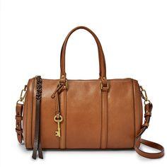 Fossil Kendall Saddle Leather Zipper Closure Double Handle Satchel #Bonanza #Doris_Daily_Deals