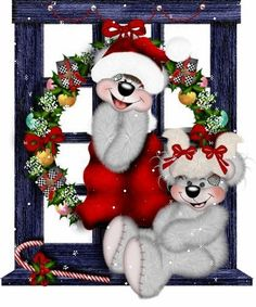 christmas window teddy cute graphic