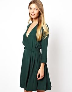 ASOS Skater Dress With Wrap Front And Tab Side. Great Casual Dress for the fall. Love this color