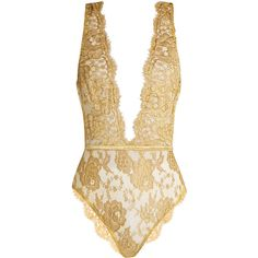 Coco De Mer Gaia rouleau-button lace bodysuit (€235) ❤ liked on Polyvore featuring intimates, shapewear, bodysuit, tops, body, lingerie and gold