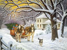 bringing home the tree - John Sloane