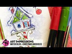 Ai Watercolor - Christmas Snowy Birdhouse - YouTube