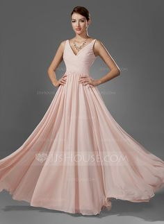 A-Line/Princess V-neck Floor-Length Chiffon Prom Dress With Ruffle (018005068)