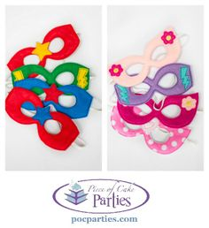 A set of four handmade superhero masks that will make your party favors not only adorable but well-used and remembered! Each mask is made of padded felt and ha 6th Birthday Parties, Birthday Party Favors, Birthday Fun, Birthday Ideas, Birthday Stuff, Girl Superhero Party, Wonder Woman Party, Barbie Party, Mask Party