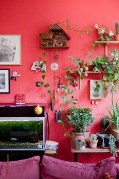 Maroonish red wall.