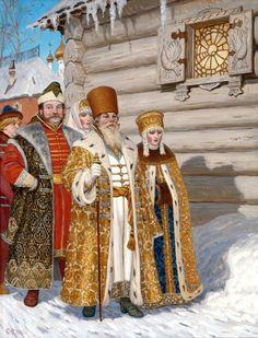 Russian costume in painting. Sergey N. Efoshkin. Boyars. A Pancake Week. XVI Century. 2002. Boyars are the noblemen in ancient Russia.