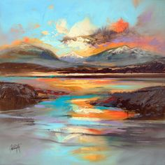 Vibrant Oil Paintings of Scottish Landscapes by Scott Naismith Working with thick brushes and palette knives, artist Scott Naismith carefully reveals the interplay of light and clouds over his native Scotland. The Glasgow-based painter travels the. Abstract Landscape, Landscape Paintings, Abstract Art, Landscapes, Impressionist Landscape, Colossal Art, Fine Art, Beautiful Paintings, Diy Painting
