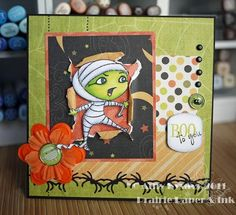 features AmyR Stamps/Ghostly Greetings ..... love how they are used in different colors ..... great idea!