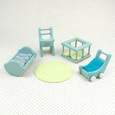 Handmade Wooden Dollhouse Nursery Set in Aqua ($42.00), Once Upon A TreeHouse Eco-Friendly Dollhouse Toys
