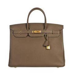 Hermes Taupe 40cm Togo Leather Birkin Handbag GHW