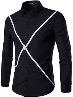 jeansian Men's Contrast Color Stripe Long Sleeves Dress Shirts 84D6 Black M jeansian http://www.amazon.com/dp/B01CFJ6MYQ/ref=cm_sw_r_pi_dp_qXN1wb0F0KCBH