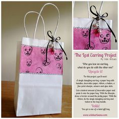 Wink Artisans: #TheLostEarringProject  OOAK Gift Bag Day Of The Dead Art, Glue Sticks, Dangle Earrings, Jewerly, Upcycle, Artisan, Reusable Tote Bags, Mexican, Lost