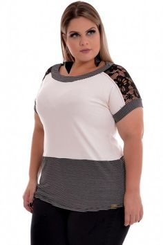 Blusa Plus Size Lace Basic