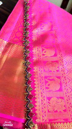 Saree Tassels Designs, Saree Kuchu Designs, Silk Saree Blouse Designs, Fancy Blouse Designs, Simple Embroidery Designs, Embroidery Flowers Pattern, Raw Silk Fabric, Maggam Work Designs, Open Hairstyles