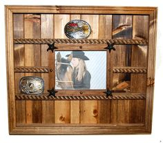 Collectible / Trophy Belt Buckle Exhibit Display Case With 8 X 10 Picture Frame