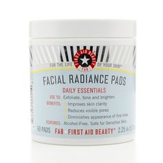 Look 1 and 2: Exfoliate and brighten for a flawless base. Just make sure to combine this with a good facial sunscreen. First Aid Beauty Facial Radiance Pads x60
