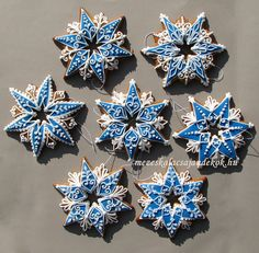 Hungarian Blue Star Christmas Ornament.Gift. Decor. Gingerbread..