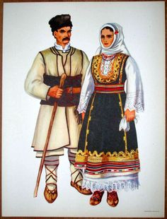Man and Woman of Crna Trava in southeastern Serbia. The women's garment, the Litak, is probably one of the most ancient styles of garments of the southern Slavs. The men wore many layers of garments made from thick white wool cloth called čoja. https://www.flickr.com/photos/79683376@N04/14720972042/in/photostream/