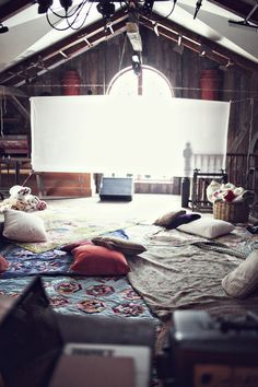 Attic Lounge Space/Movie Room (projector and sheet) Interior And Exterior, Interior Design, Inspiration Design, Up House, California Wedding, Northern California, Architecture, Decoration, My Room